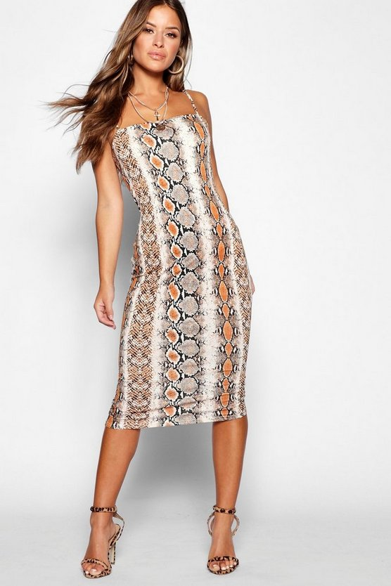 Womens Brown Petite Snake Spaghetti Strap Midi Dress