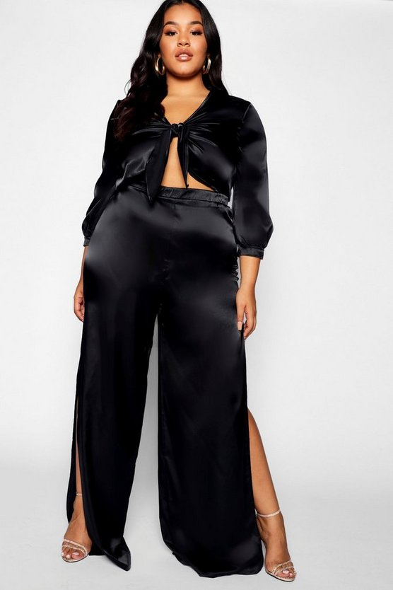 Plus Satin Tie Top & Trouser Co-ord