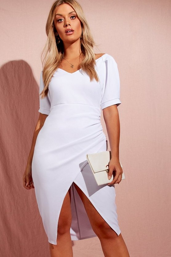 Plus Puff Sleeve Wrap Mini Dress