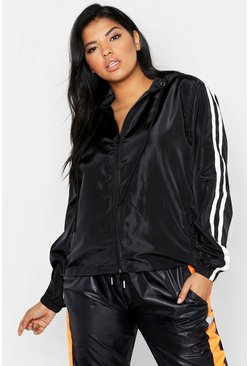 Womens Black Plus Stripe Detail Windbreaker