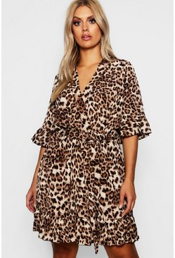 Womens Brown Plus Leopard Print Ruffle Hem Skater Dress