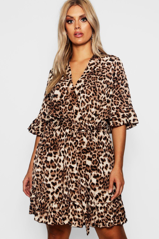 b0563310752 Plus Leopard Print Ruffle Hem Skater Dress   Boohoo