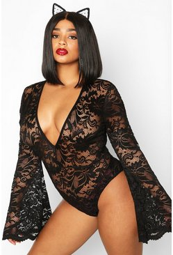 Womens Black Plus Lace Flared Sleeve Bodysuit