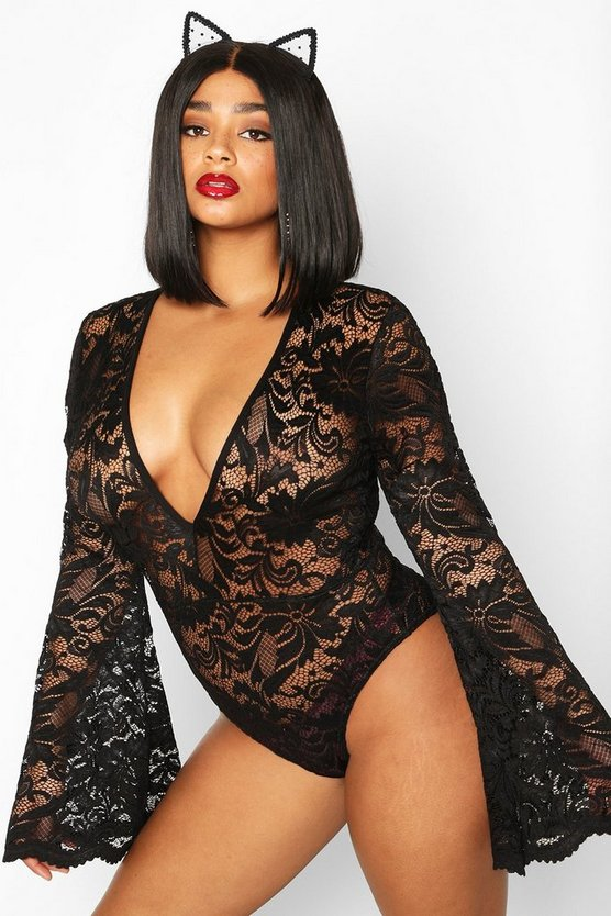 Plus Lace Flared Sleeve Bodysuit