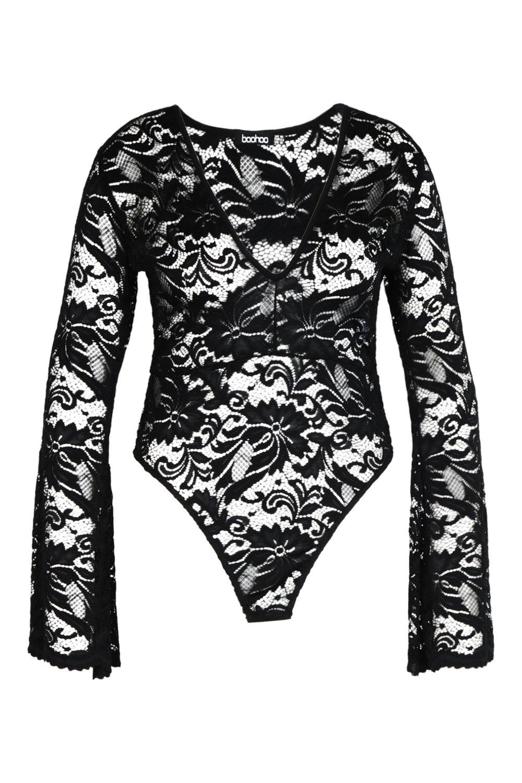 Body en manga negro acampanada con Plus encaje rr8qOd