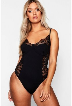 Womens Black Plus Lace Detail Bodysuit