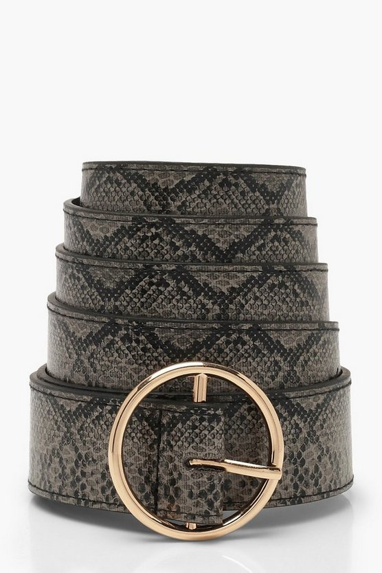 Womens Natural Plus Faux Python Ring Belt