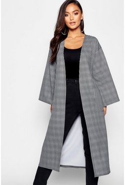 Womens Grey Petite Dogtooth Tie Detail Longline Duster