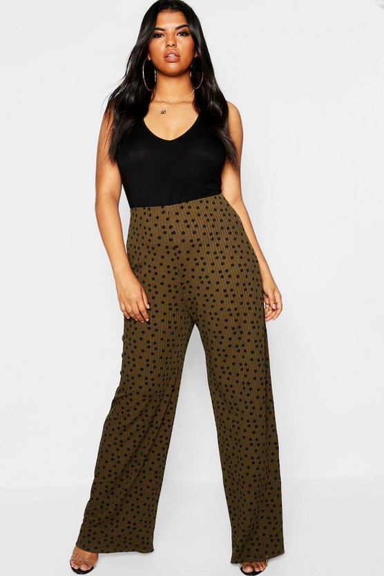 Plus Polka Dot Soft Rib Wide Leg Trouser
