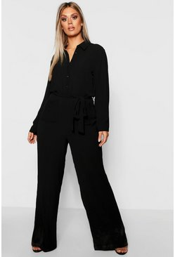 Womens Black Plus Utility Pocket Front Jumpsuit