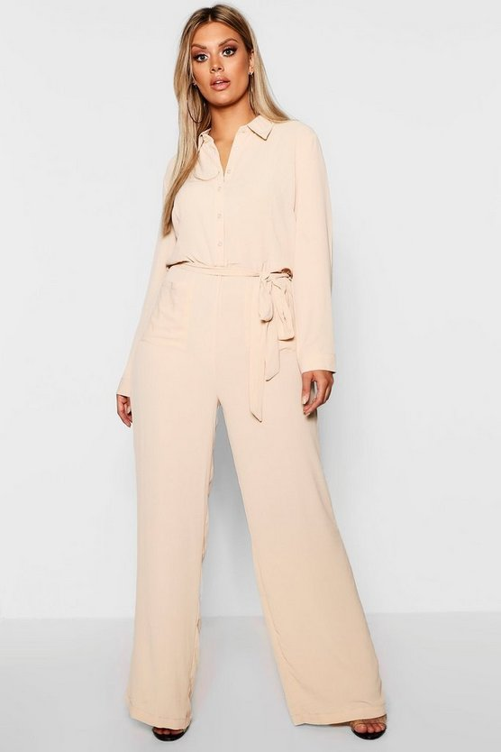 Plus Utility Pocket Front Jumpsuit