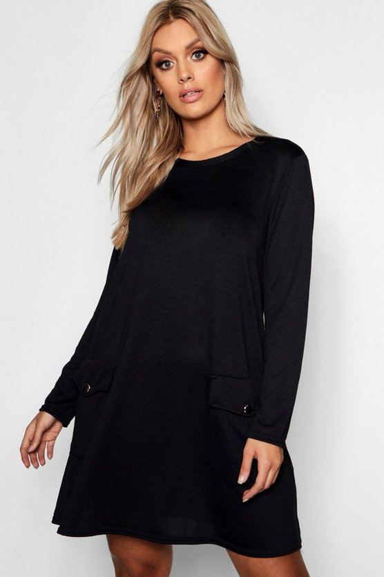 Womens Black Plus Gold Button Long Sleeve Knit Shift Dress