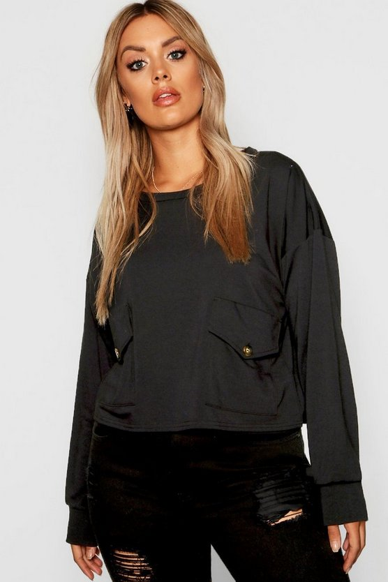 Plus Pocket Button Front Sweat Top