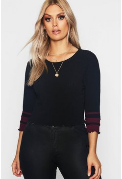 Womens Black Plus Crop Rib Sweater With Stripe Sleeve