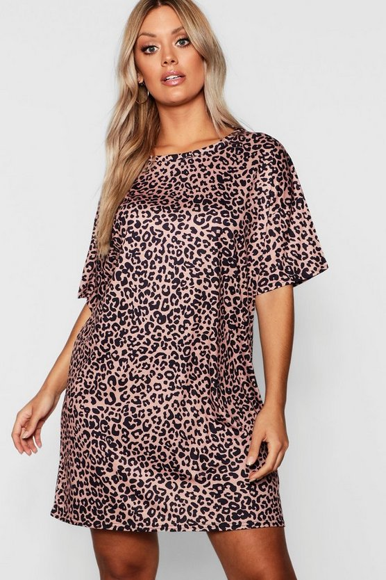 Camel Plus Animal Printed oversized T-Shirt Dress