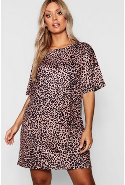 Womens Camel Plus Animal Printed oversized T-Shirt Dress