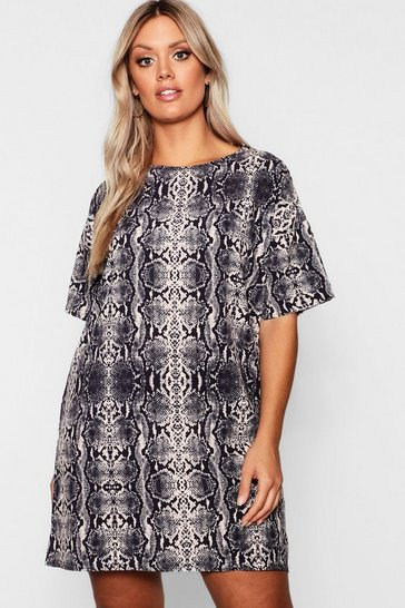 Womens Grey Plus snakeskin Oversized T-Shirt Dress