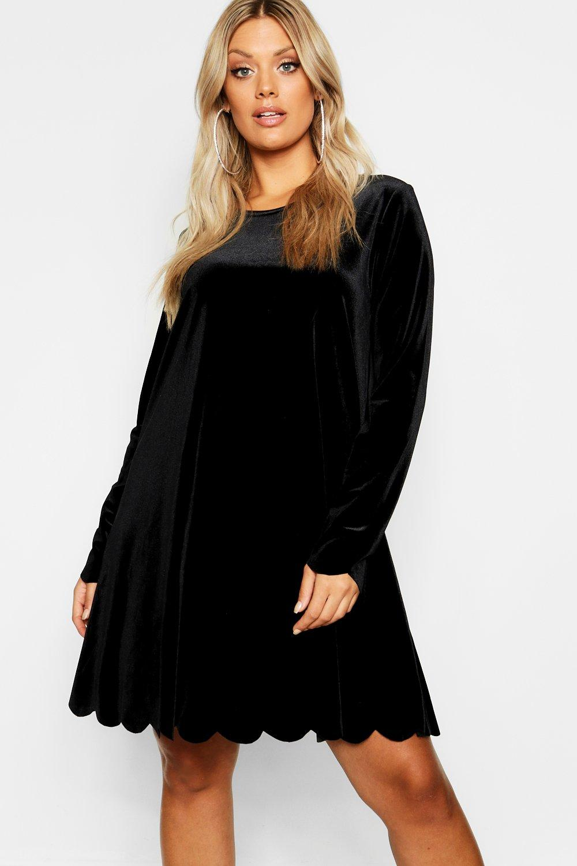 60s 70s Plus Size Dresses, Clothing, Costumes Womens Plus Scallop Edge Velvet Swing Dress - black - 16 $20.00 AT vintagedancer.com