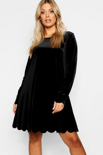 Womens Black Plus Scallop Edge Velvet Swing Dress