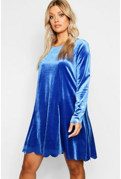 Womens Cobalt Plus Scallop Edge Velvet Swing Dress