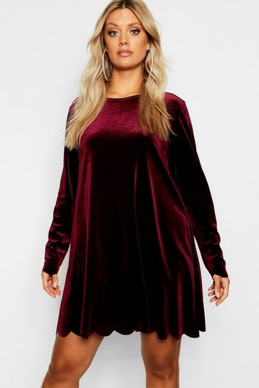 Womens Wine Plus Scallop Edge Velvet Swing Dress