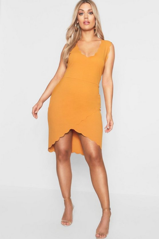 Womens Mustard Plus Scallop Edge Wrap Mini Dress