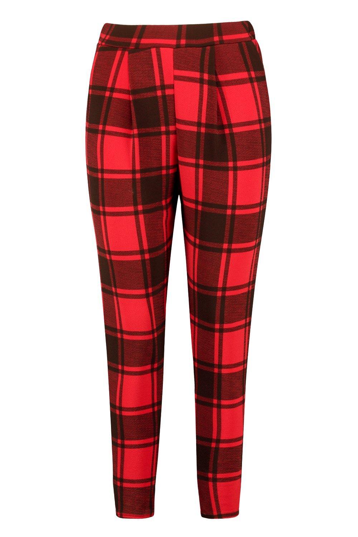 Plus Trouser Front Tartan Print red Pleat RqvRrw