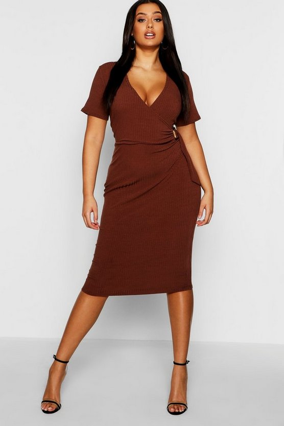 Plus Ribbed Wrap Dress