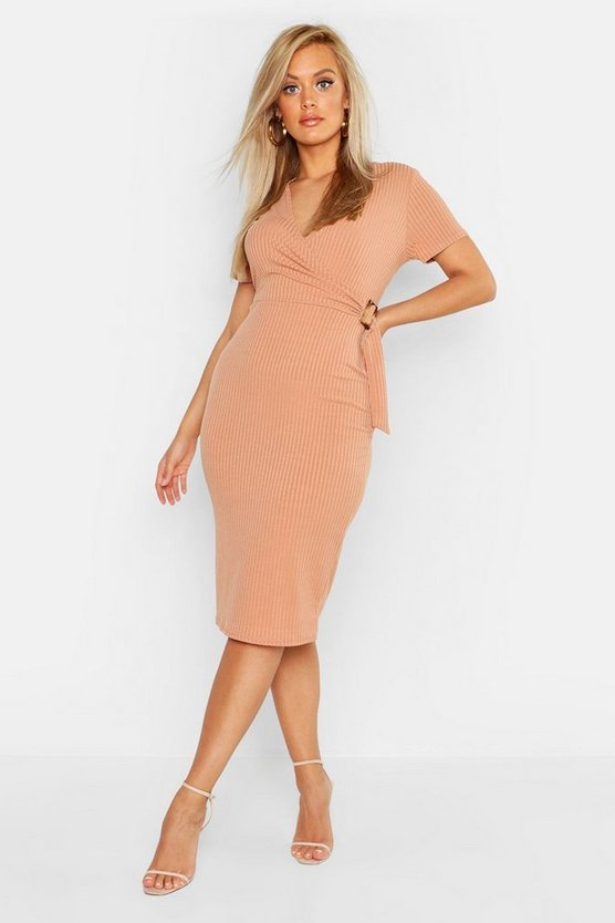 Womens Stone Plus Ribbed Wrap Dress
