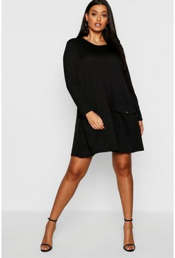 Womens Black Plus Pocket Detail Shift Dress