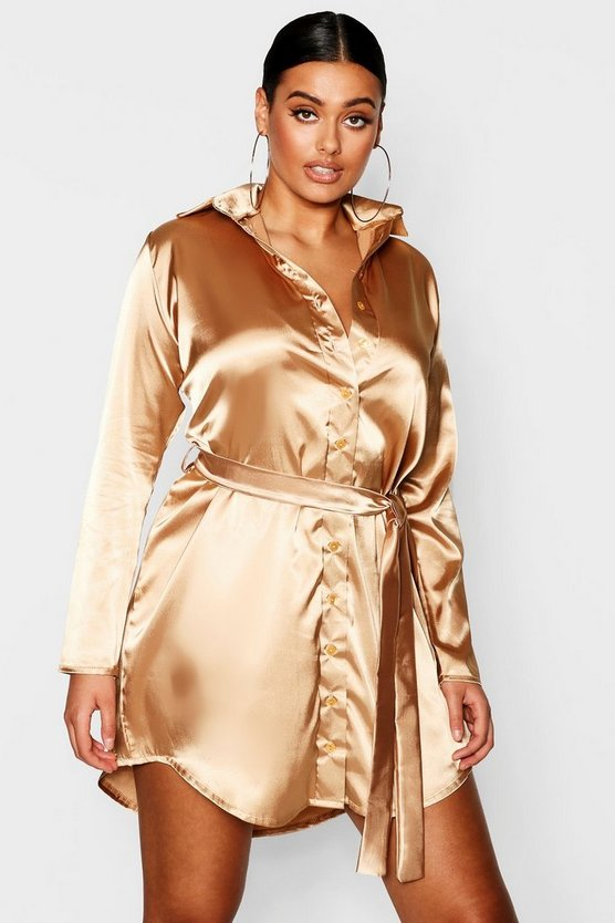 Plus Satin Shirt Dress