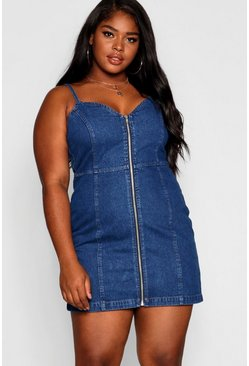 Womens Mid blue Plus Contrast Stitch Denim Dress