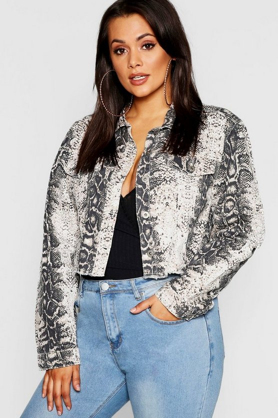 Plus Snake Print Denim Jacket