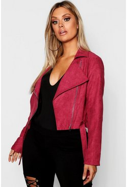 Womens Berry Plus Belted Suedette Crop Biker Jacket