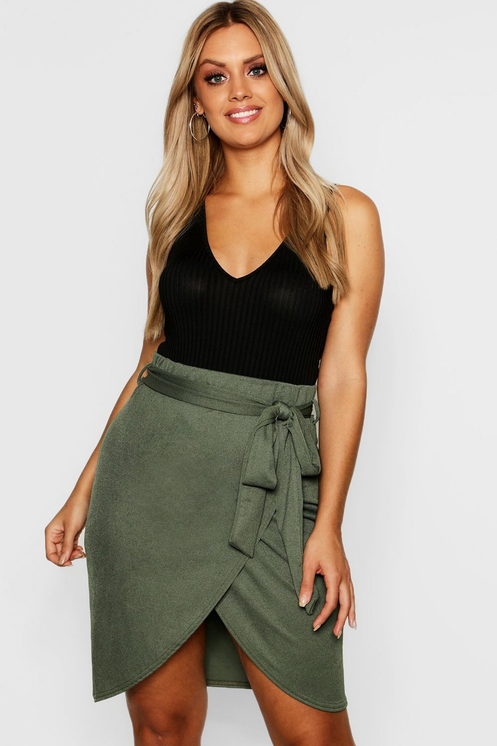 a77a6d065 Plus Wrap Tie Mini Skirt   Boohoo