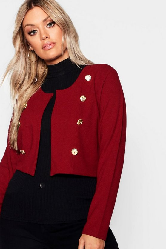 Womens Berry Plus Gold Button Crop Jacket