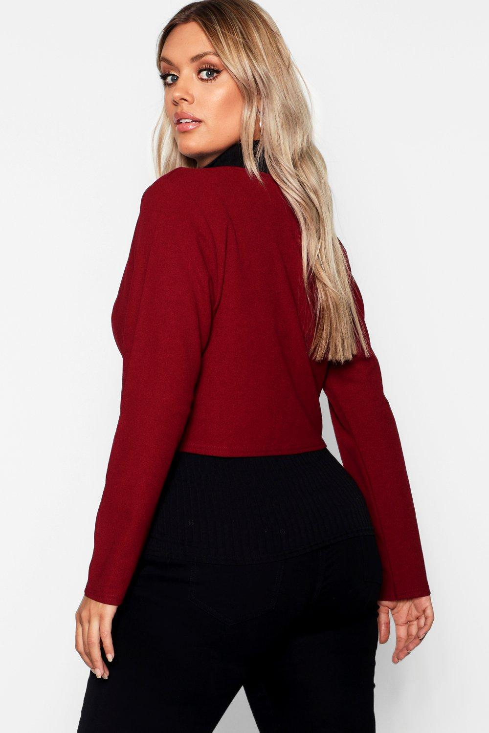 Plus Button Jacket Crop Gold berry rYTyra