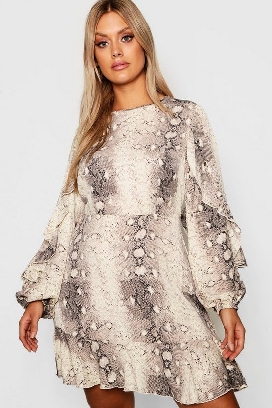 Plus Snake Print Ruffle Dress