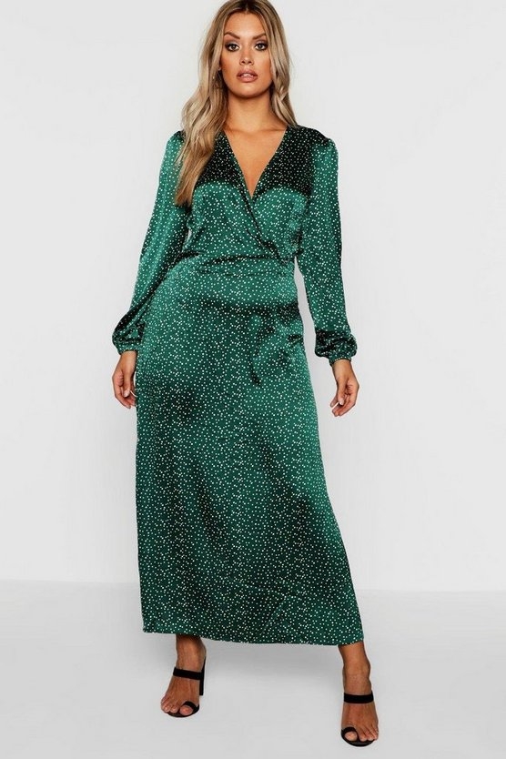Plus Spot Balloon Sleeve Wrap Dress