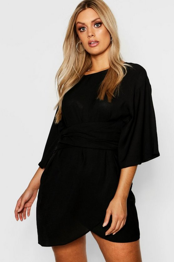 Plus Kimono Sleeve Wrap Dress