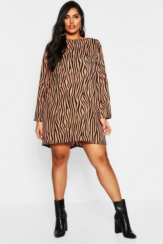 Womens Camel Plus Long Sleeve Zebra Print Shift Dress