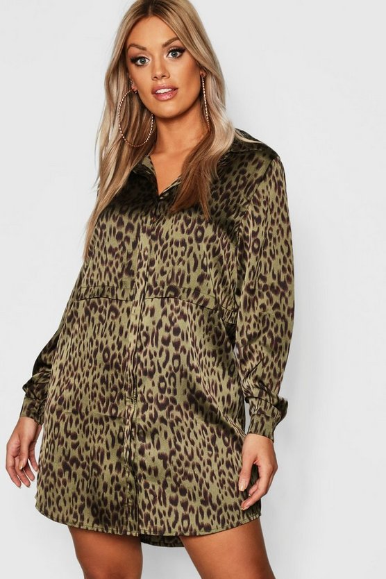 Womens Khaki Plus Animal Print Shirt Dress