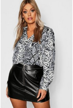 Dam Grey Plus Snake Print Utility Shirt