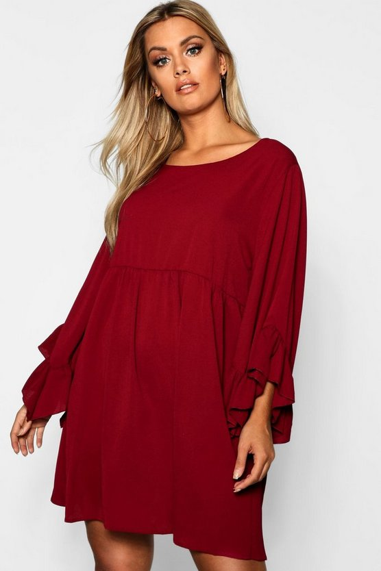 Plus Wide Sleeve Ruffle Smock Dress
