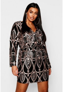 Womens Black Plus Lace & Sequin Plunge Mini Dress