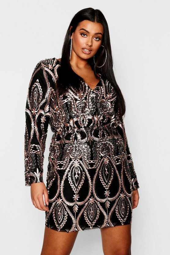 Plus Lace & Sequin Plunge Mini Dress