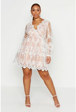 Womens White Plus Lace Plunge Skater Dress
