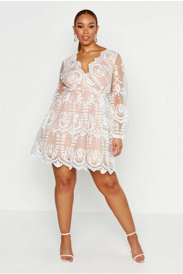 White Plus Lace Plunge Skater Dress