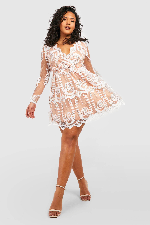 Plus Lace Plunge Skater Dress Boohoo
