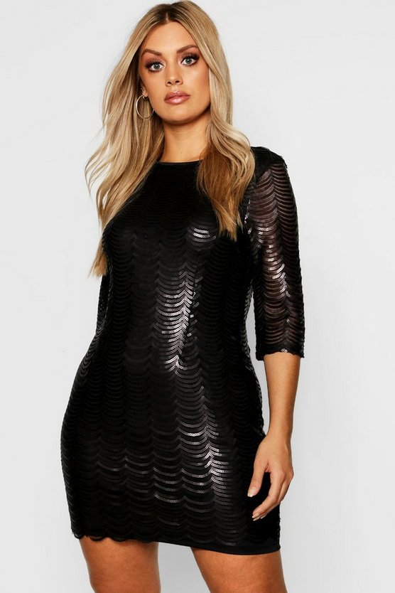 Plus Sequin Scallop 3/4 Sleeve Bodycon Dress